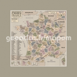 Carte de France administrative old school