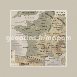 Carte old school France relief